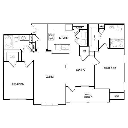1,193 sq. ft. B5 floor plan