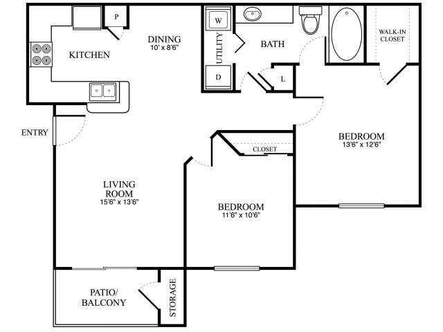 874 sq. ft. C floor plan
