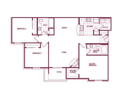 1,348 sq. ft. Redwood floor plan