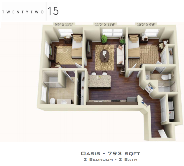 793 sq. ft. OASIS floor plan
