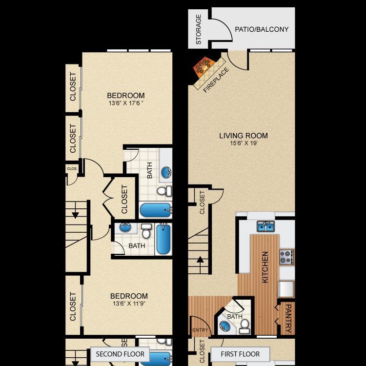 1,335 sq. ft. B7 floor plan