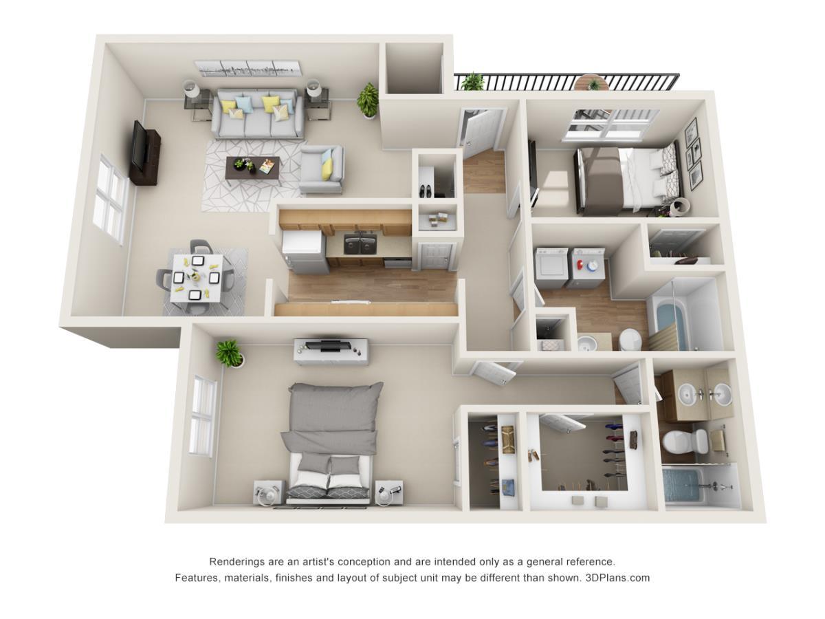 866 sq. ft. B2 floor plan