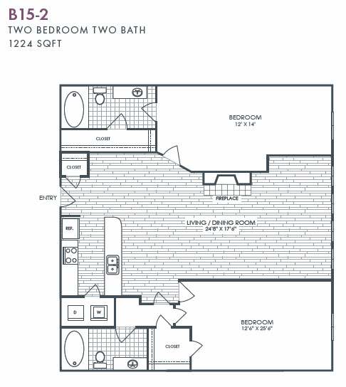 1,224 sq. ft. B15-2 floor plan
