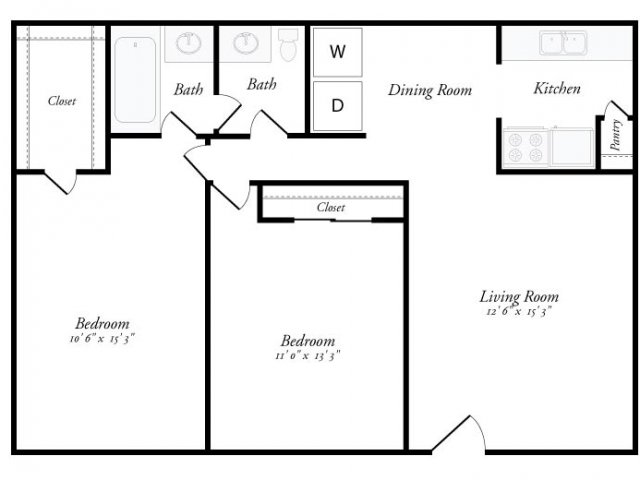 900 sq. ft. Marbella floor plan