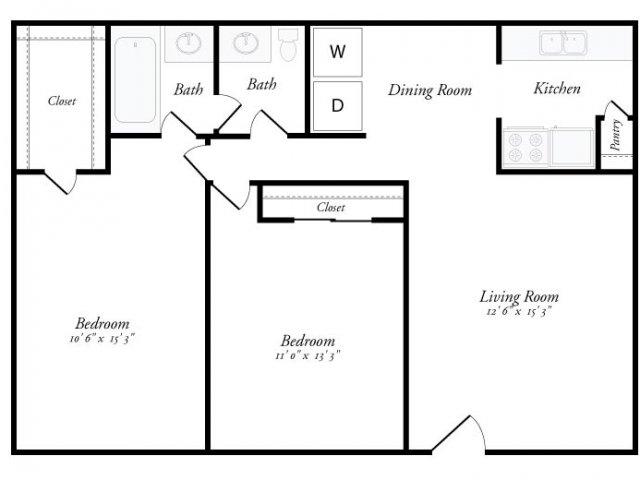 900 sq. ft. Marbella floor plan