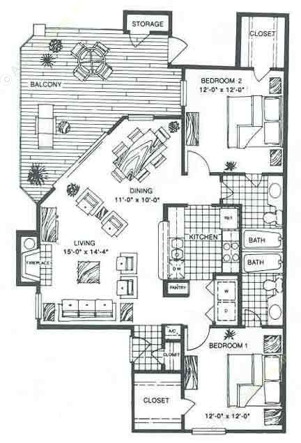 1,036 sq. ft. B2B floor plan