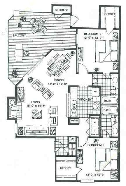 1,036 sq. ft. B2B floor plan