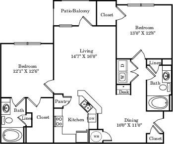 1,177 sq. ft. B1 floor plan