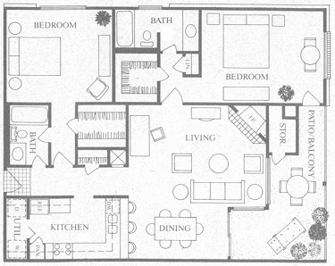 1,239 sq. ft. F floor plan