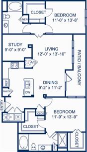 1,340 sq. ft. B3.1 floor plan