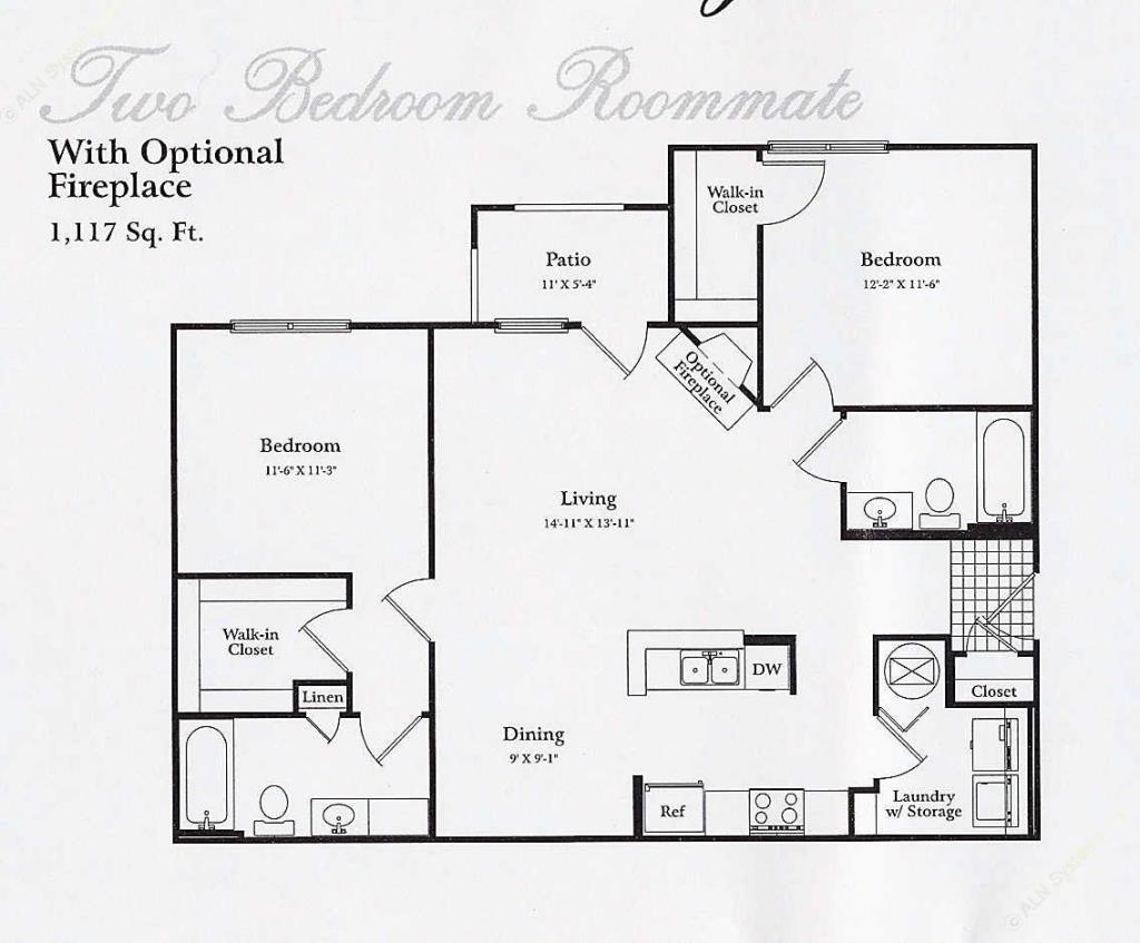 1,117 sq. ft. B2 PATIO floor plan