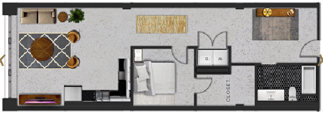 956 sq. ft. H floor plan