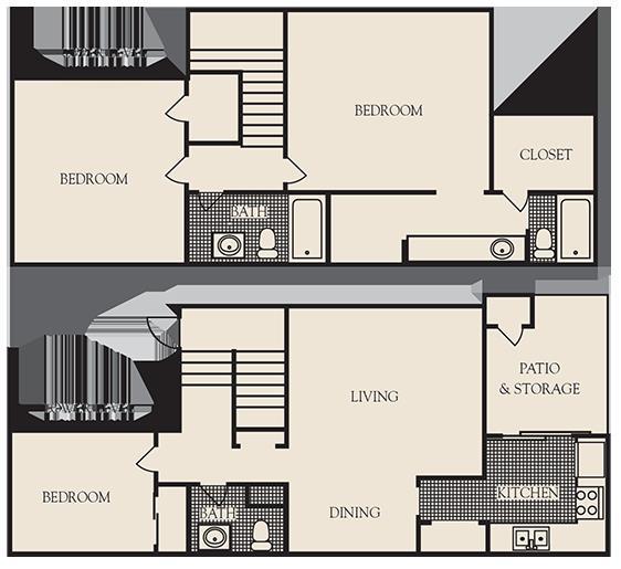 1,500 sq. ft. B4 floor plan