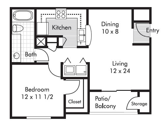 659 sq. ft. Farmington floor plan