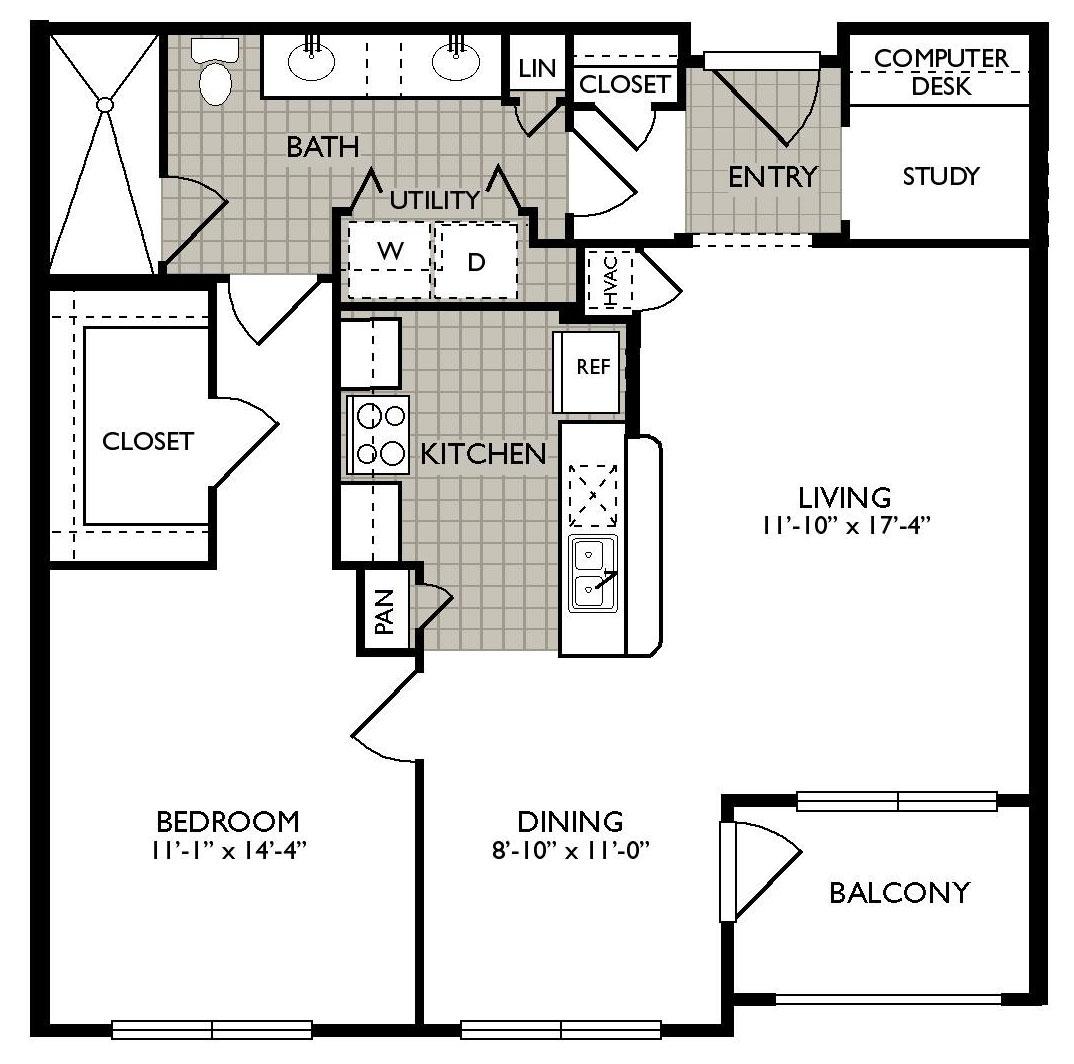 863 sq. ft. Delight floor plan