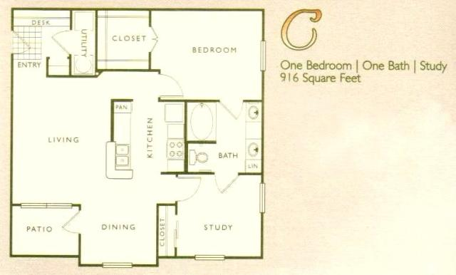 916 sq. ft. C floor plan