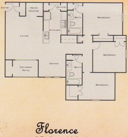 1,158 sq. ft. 60% floor plan