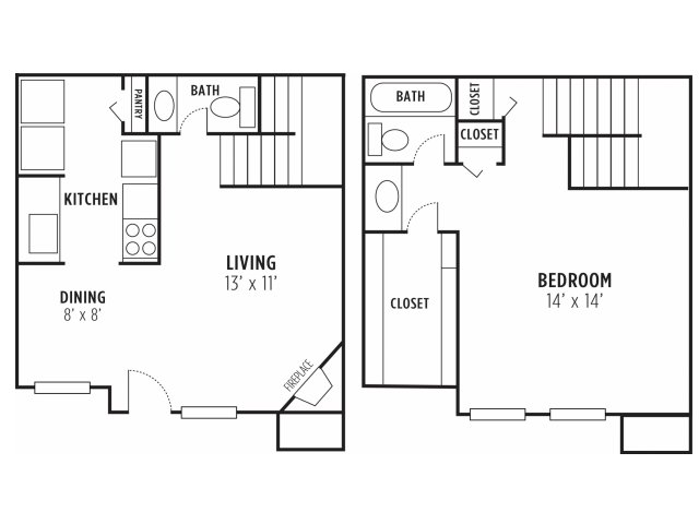 782 sq. ft. D floor plan