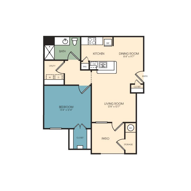 725 sq. ft. Breckenridge floor plan