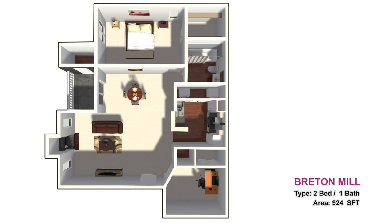 924 sq. ft. 2A2 floor plan