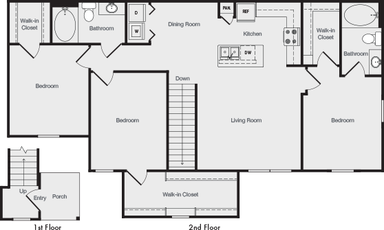 1,346 sq. ft. C2 floor plan