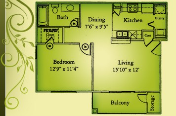 761 sq. ft. A1/60% floor plan