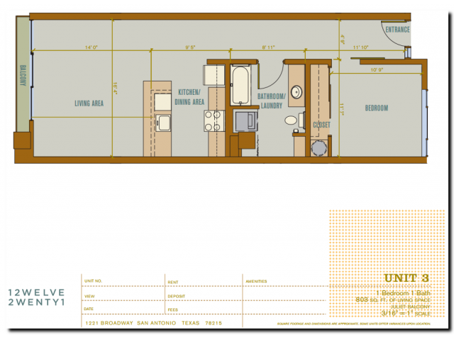 803 sq. ft. 2A11 floor plan