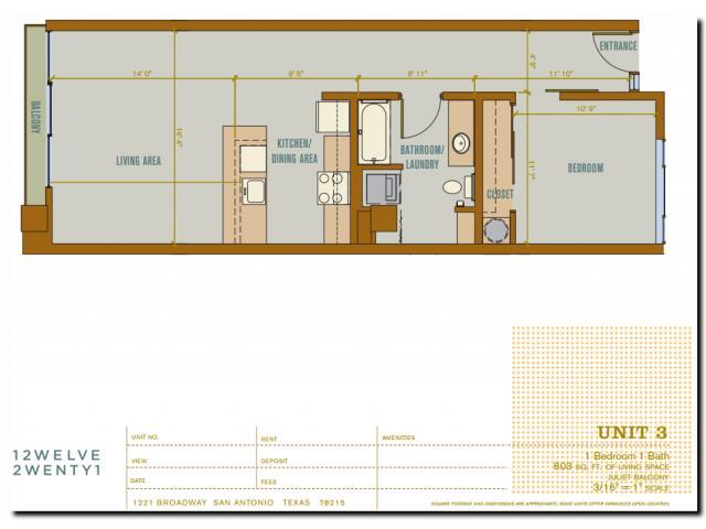 803 sq. ft. 2A3 floor plan