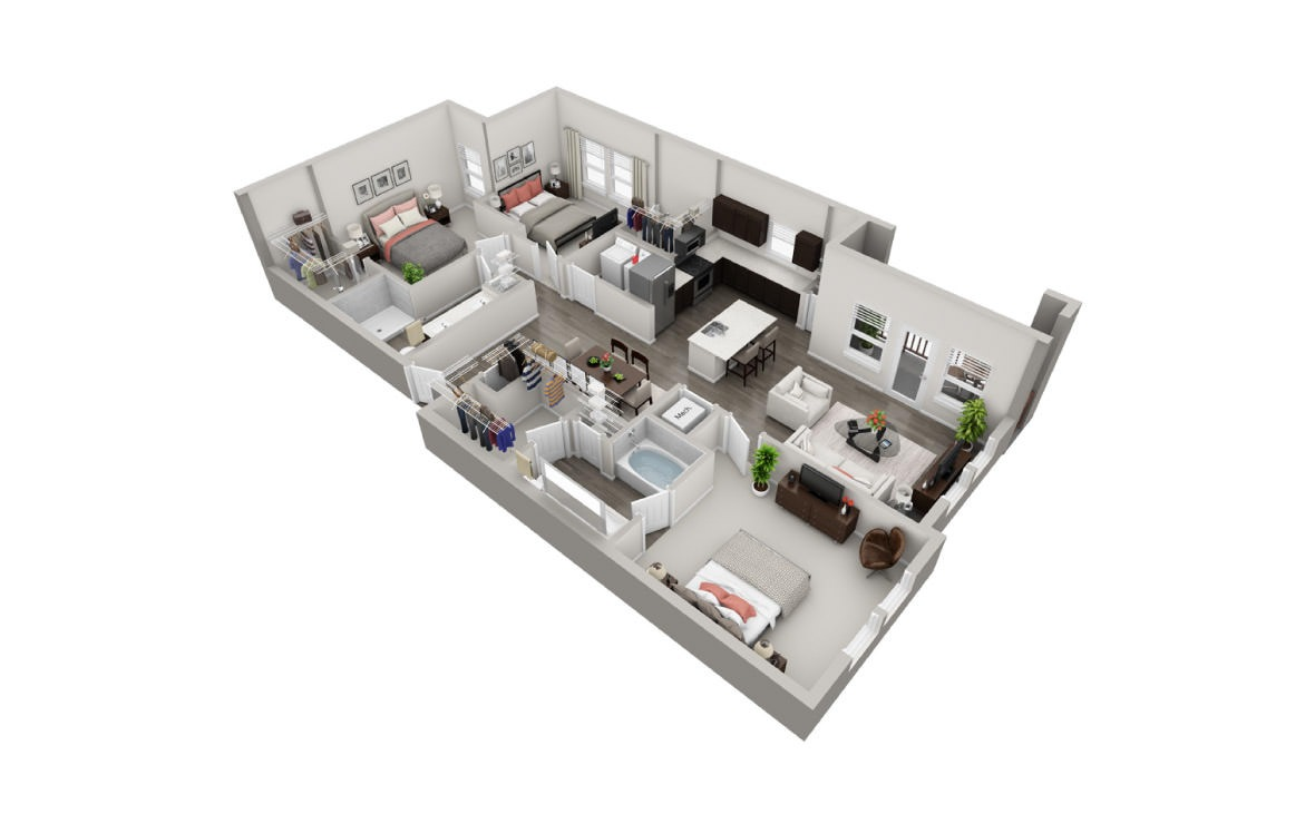 1,412 sq. ft. C3 floor plan