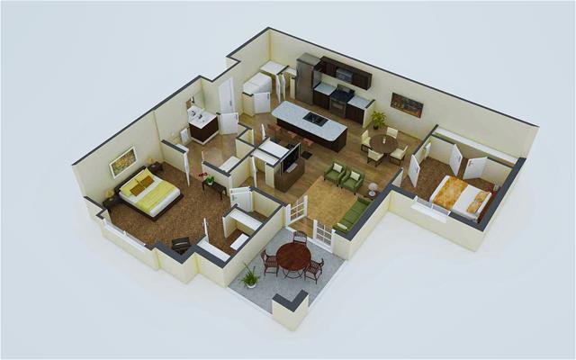 979 sq. ft. A2 floor plan