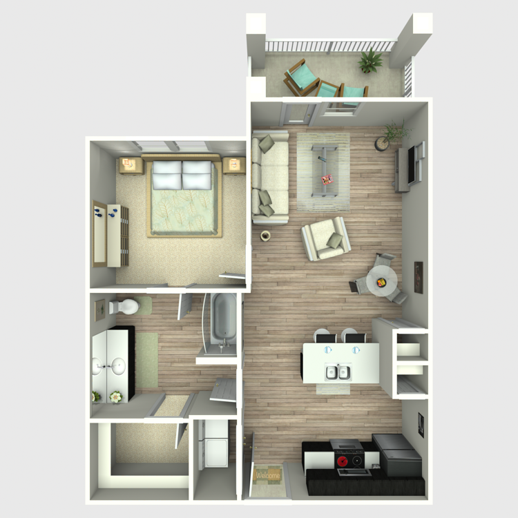 749 sq. ft. A4 floor plan