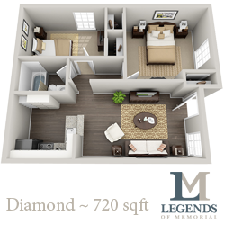 720 sq. ft. Diamond floor plan