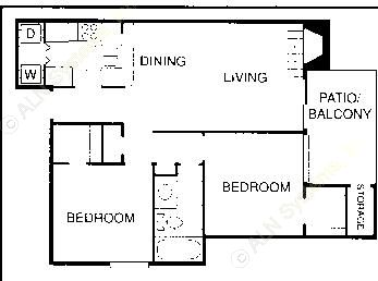 838 sq. ft. D floor plan