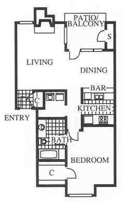 750 sq. ft. A3 floor plan