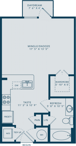 540 sq. ft. E floor plan
