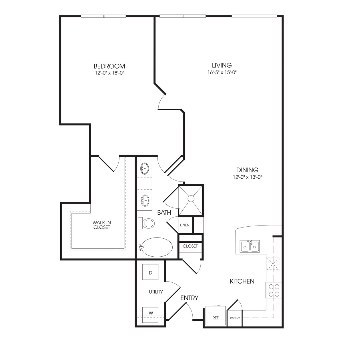 1,164 sq. ft. Saville Row floor plan