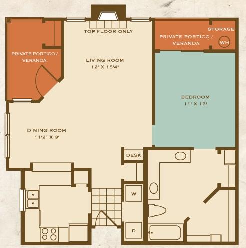 851 sq. ft. A2 floor plan