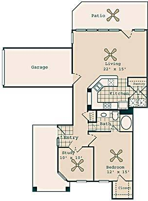 1,022 sq. ft. B2 GAR floor plan
