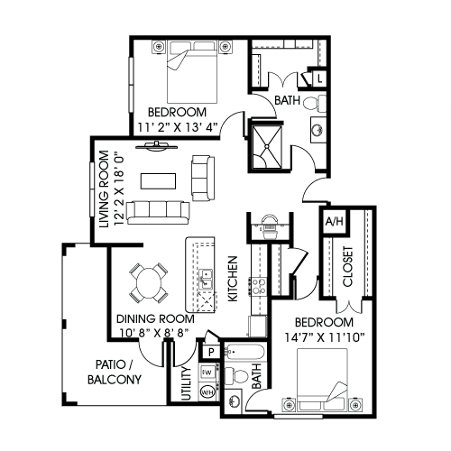1,207 sq. ft. B4-A-T floor plan