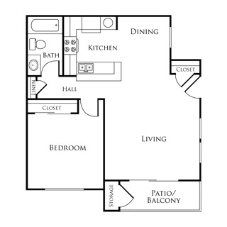 668 sq. ft. EBAN II floor plan