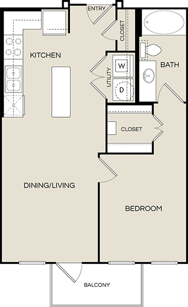 660 sq. ft. A0 floor plan