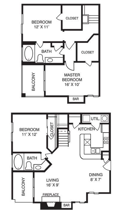 1,300 sq. ft. T3 floor plan