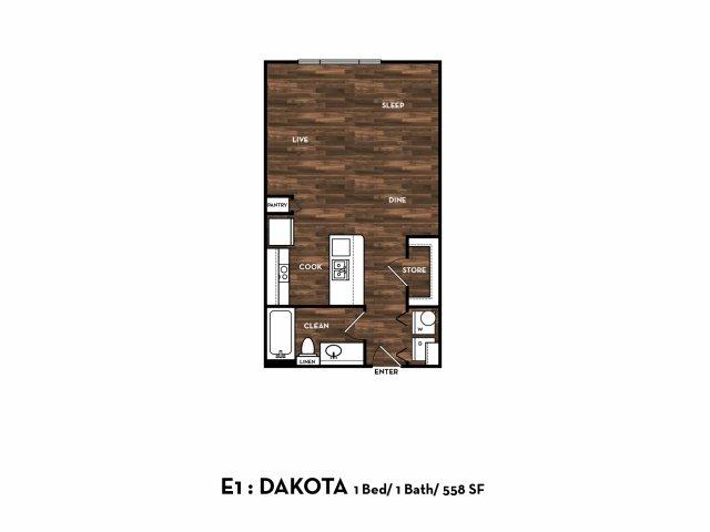 546 sq. ft. E1: Dakota floor plan