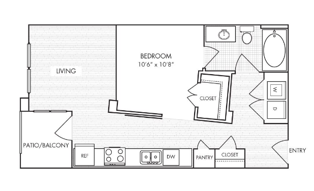 561 sq. ft. E1 floor plan