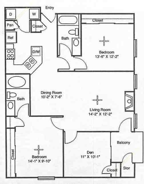 1,216 sq. ft. Venice floor plan