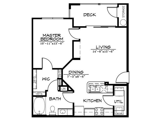 686 sq. ft. A1AR floor plan
