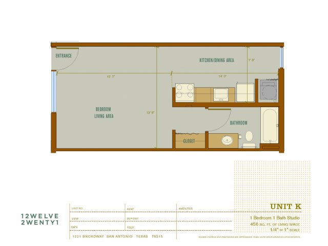456 sq. ft. K floor plan
