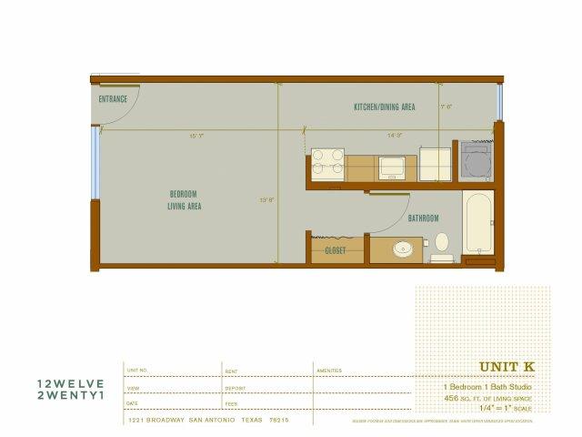 456 sq. ft. K floor plan