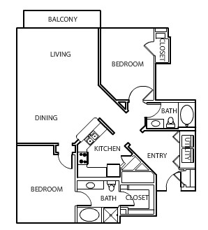 1,264 sq. ft. B2 floor plan