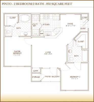 892 sq. ft. Pinto floor plan